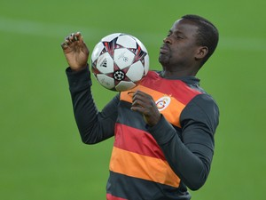 Galatasaray defender Emmanuel Eboue attends a training session on the eve of the Champion's League football match Juventus vs Galatasaray on October 1, 2013