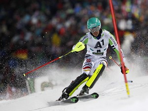 Felix Neureuther of Germany takes the 3rd place during the Audi FIS Alpine Ski World Cup Men's Slalom on January 28, 2014