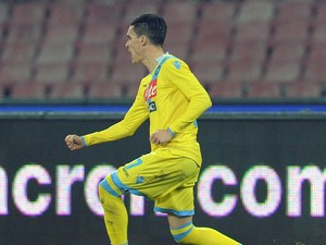 Josè Maria Callejon of Napoli celebrates after scoring the opening goal during the TIM Cup match between SSC Napoli and AS Roma at Stadio San Paolo on February 12, 2014