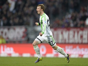 Wolfsburg's midfielder Maximilian Arnold celebrates after scoring the 0-1 during the German first division Bundesliga football match between FC Nuremberg vs VfL Wolfsburg in Nuremberg, southern Germany, on November 23, 2013