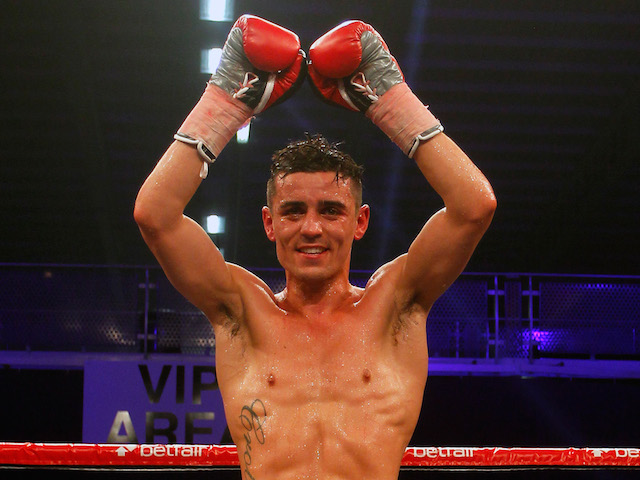 Anthony Crolla celebrates after beating Gavin Rees (not pictured) after the WBO Inter-Continental Lightweight championship fight at Bolton Arena on June 29, 2013