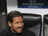 Diego Simeone looks on before the UEFA Champions League Round of 16 match between AC Milan and Club Atletico de Madrid at Stadio Giuseppe Meazza on February 19, 2014