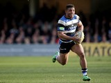 Bath's Kyle Eastmond scores a try during the Aviva Premiership match between Bath and London Wasps at the Recreation Ground on February 22, 2014