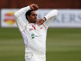 Jigar Naik of the Leicestershire in action during day one of the LV County Championship match between Leicestershire and Kent at Grace Road on April 17, 2013