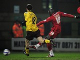 Jonathan Tehoue of Leyton Orient shoots to score the equaliser during the FA Cup sponsored by E.ON 5th Round match between Leyton Orient and Arsenal at the Matchroom Stadium on February 20, 2011