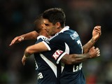 Guilherme Finkler of Victory celebrates scoring a goal during the round 20 A-League match between Melbourne Victory and Adelaide United at AAMI Park on February 22, 2014