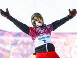 Patrizia Kummer of Switzerland wins the gold medal during the Snowboarding Men's & Women's Parallel Giant Slalom at the Rosa Khutor Extreme Park on February 19, 2014