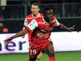 Valenciennes' Ghanaian forward Majeed Waris celebrates after scoring a goal during the French L1 football match between Valenciennes and Sochaux on February 22, 2014