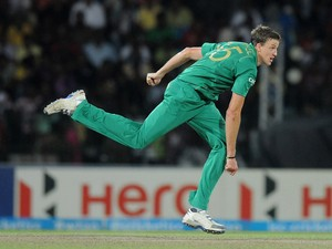 Albie Morkel of South Africa bowls during the ICC World Twenty20 2012 Super Eights Group 2 match between South Africa and India at R. Premadasa Stadium on October 2, 2012