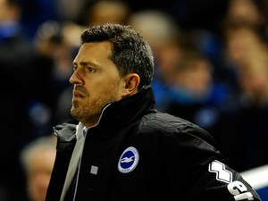 Oscar Garcia of Brighton looks on during the FA Cup fifth round match between Brighton & Hove Albion and Hull City at Amex Stadium on February 17, 2014