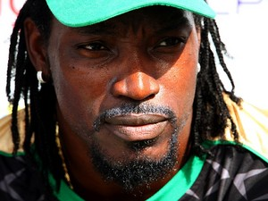 Chris Gayle of Jamaica Tallawash during the Sixth Match of the Cricket Caribbean Premier League between Antigua Hawksbills v Jamaica Tallawash at Providence Stadium on August 4, 2013