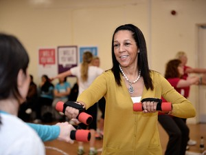 Sports Minister Helen Grant takes part in a new women's sport campaign in Bury on December 3, 2013