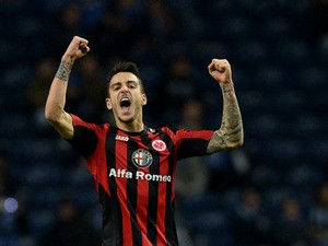 Frankfurt's Joselu celebrates after scoring against Porto during their Europa League match on February 20, 2014