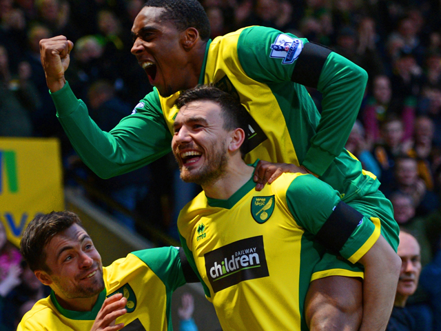 Robert Snodgrass of Norwich City celebrates scoring the opening goal with team mates during the Barclays Premier League match between Norwich City and Tottenham Hotspur at Carrow Road on February 23, 2014