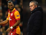 Didier Drogba of Galatasaray and former Chelsea player and Chelsea Manager Jose Mourinho