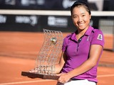 Kurumi Nara of Japan pose with her trophy after being defeated to Klara Zakopalova of Czech Republic during the ATP Rio Open 2014 at Jockey Club Rio de Janeiro on February 23, 2014
