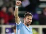 Lorik Cana of SS Lazio celebrates after scoring the opening goal during the Serie A match between ACF Fiorentina and SS Lazio at Stadio Artemio Franchi on March 2, 2014