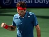 Roger Federer celebrates his win overRadek Stepanek during their match in the ATP Dubai Duty Free Tennis Championships on February 26, 2014