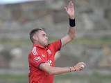 England captain Stuart Broad bowls during the tour match between University of West Indies Vice Chancellor's XI and England XI on February 25, 2014