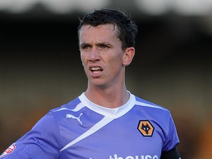 Kevin Foley of Wolverhampton Wanderers looks on during the Capital One Cup First Round match between Morecambe and Wolverhampton Wanderers at Globe Arena on August 6, 2013