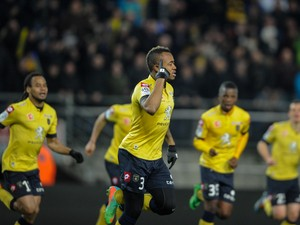 Sochaux French forward Jordan Ayew celebrates after scoring a goal during the French L1 football match between FC Sochaux (FCSM) and Girondins de Bordeaux (FCGB) on March 1, 2014