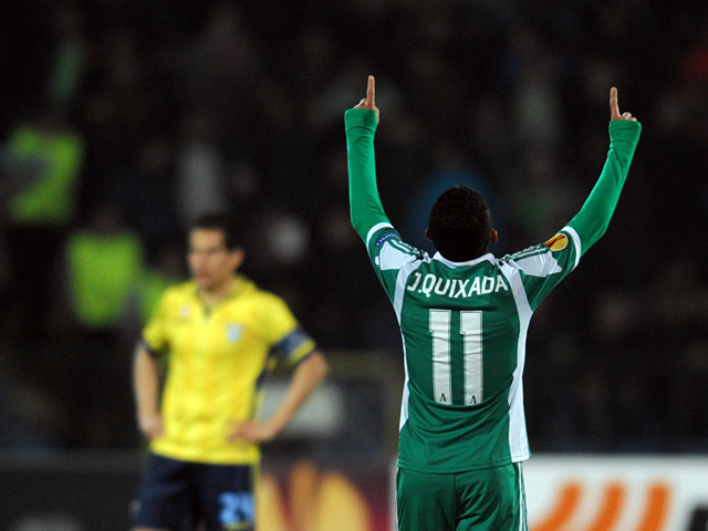 Ludogorets's Juninho Quixada celebrates after scoring his team's third goal against Lazio during their Europa League match on February 27, 2014