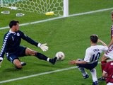 England's Michael Owen scores against Denmark at the World Cup on June 15, 2002.