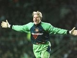 Peter Schmeichel celebrates Eric Cantona's goal for Manchester United against Newcastle United on March 04, 1996.