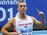 Great Britain's Richard Kilty celebrates winning the gold medal in the Men's 60m Final of the IAAF World Indoor Championships on March 8, 2014