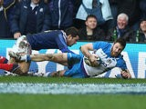 Scotland's Tommy Seymour scores the second try against France during their Six Nations International rugby union match on March 8, 2014