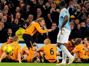 Jimmy Bullard celebrates his goal for Hull City against Manchester City on November 28, 2009.