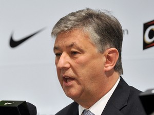 Celtic FC chief executive Peter Lawwell during a press conference in Seoul on December 21, 2009