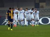 Rodrigo Palacio of Internazionale Milano is mobbed by team mates after scoring his team's opening goal of the game during the Serie A match between Hellas Verona FC and FC Internazionale Milano at Stadio Marc'Antonio Bentegodi on March 15, 2014