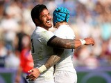 England's Manusamoa Tuilagi celebrates after scoring a try against Italy during the Six Nations match on March 15, 2014