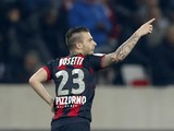 Nice's French forward Alexy Bosetti celebrates after scoring a goal during the French L1 football match Nice (OGCN ) vs Bastia (SCB) at the Allianz Riviera stadium in Nice, southern France, on March 15, 2014