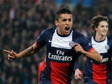 Marquinhos of Paris Saint-Germain celebrates as he scores their first goal during the UEFA Champions League Round of 16 second leg match between Paris Saint-Germain FC and Bayer Leverkusen at Parc des Princes on March 12, 2014