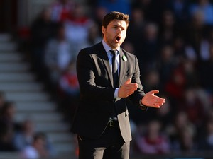 Manager Mauricio Pochettino of Southampton on the touchline during the Barclays Premier League match between Southampton and Norwich City at St Mary's Stadium on March 15, 2014