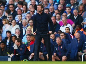 Tim Sherwood manager of Tottenham Hotspur vents his frustrations on the touchline during the Barclays Premier League match between Tottenham Hotspur and Arsenal at White Hart Lane on March 16, 2014