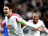 Jonatan Soriano of FC Salzburg celebrates after the first goal during the UEFA Europa League Round of 16 match between FC Salzburg and FC Basel 1893 at Stadion Salzburg on March 20, 2014