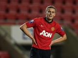 James Wilson of Manchester United U21 during the Barclays U21 Premier League match between Blackburn U21 and Manchester United U21 at Leigh Stadium on December 02, 2013