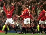 Mikael Silvestre celebrates scoring for Manchester United against Leicester City on March 17, 2001.