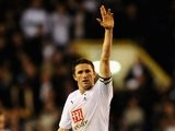 Robbie Keane celebrates scoring for Tottenham Hotspur against Chelsea on March 19, 2008.