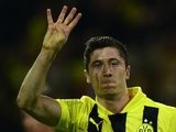 Borussia Dortmund striker Robert Lewandowski celebrates scoring his fourth goal against Real Madrid on April 29, 2013.