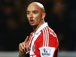 Stephen Ireland of Stoke City reacts after having a goal ruled out for offside during the Barclays Premier League match against Hull City on December 14, 2013