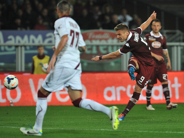 Ciro Immobile of Torino FC scored his third goal during the Serie A match between Torino FC and AS Livorno Calcio at Stadio Olimpico di Torino on March 22, 2014