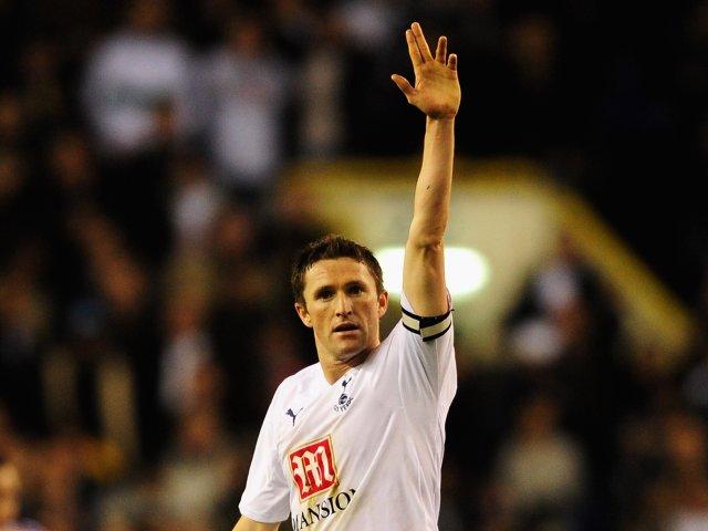 Robbie Keane celebrates scoring for Tottenham Hotspur against Chelsea on March 19, 2008.