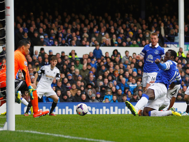 Romelu Lukaku of Everton scores his team's second goal during the Barclays Premier League match between Everton and Swansea City at Goodison Park on March 22, 2014