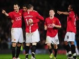 Manchester United players celebrate Cristiano Ronaldo's goal against Aston Villa on March 29, 2008.
