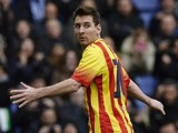 Barcelona's Argentinian forward Lionel Messi celebrates after scoring during the Spanish league football match aga