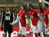 Monaco's French forward Emmanuel Riviere celebrates after scoring during the French Cup football match between AS Monaco and RC Lens, on March 26, 2014